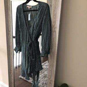 NWT Green polka dot wrap dress